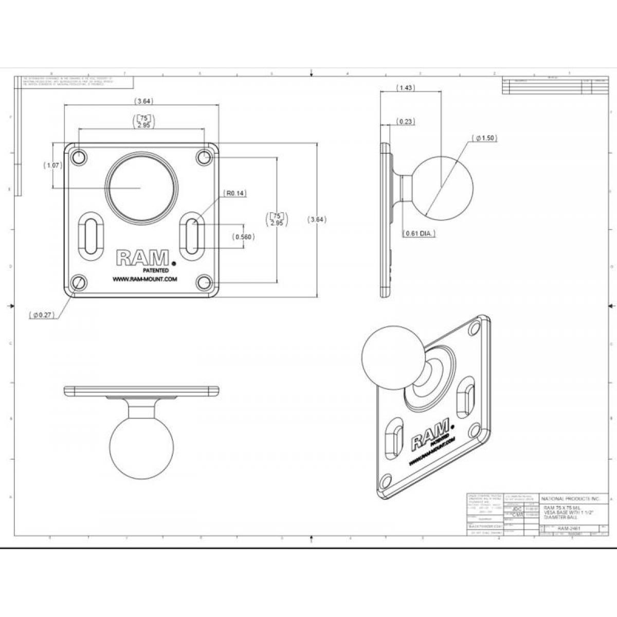 """RAM 100x100mm VESA Plate 1.5/"""" Ball Mount with Standard Arm and Round Base"""